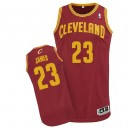 Maillot rouge vin de NBA LeBron James authentiques hommes - Adidas Cleveland Cavaliers & route 23