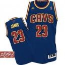Jersey bleu marine de NBA LeBron James authentiques hommes - Adidas Cleveland Cavaliers 23 CavFanatic autographié