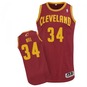 Maillot rouge vin de Tyrone Hill NBA authentiques hommes - Adidas Cleveland Cavaliers & route 34