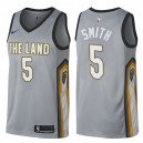 Hommes 2017-18 saison Jr Smith Cleveland Cavaliers &5 City Edition Gris Swing Maillot