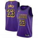 Hommes Los Angeles Lakers LeBron James Nike Violet 2018/19 Échangiste Maillot-Ville Édition