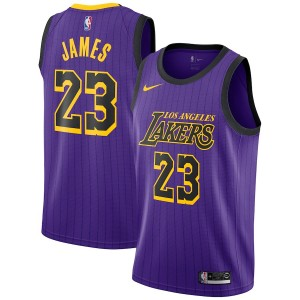 Hommes Los Angeles Lakers LeBron James Nike Violet 2018/19 Échangiste Maillot-Ville Édition