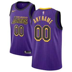 Hommes Los Angeles Lakers Nike Violet 2018/19 Échangiste Custom Maillots-Ville Édition