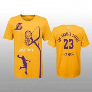 Los Angeles Lakers &23 LeBron James Just Do It Nom - nombre T-chemise