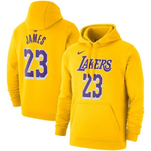 Hommes Los Angeles Lakers LeBron James Nike Gold 2019/20 Nom - Numéro Pullover Hoodie