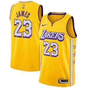 Maillot Swingman Terminé Nike LeBron James Jaune 2019/20 Los Angeles Lakers - Édition Urbaine