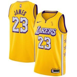 Maillot Swingman Terminé Nike Finals Champions LeBron James Jaune Los Angeles Lakers - Édition Urbaine